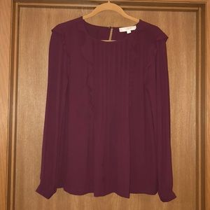 LOFT burgundy blouse with ruffle detail